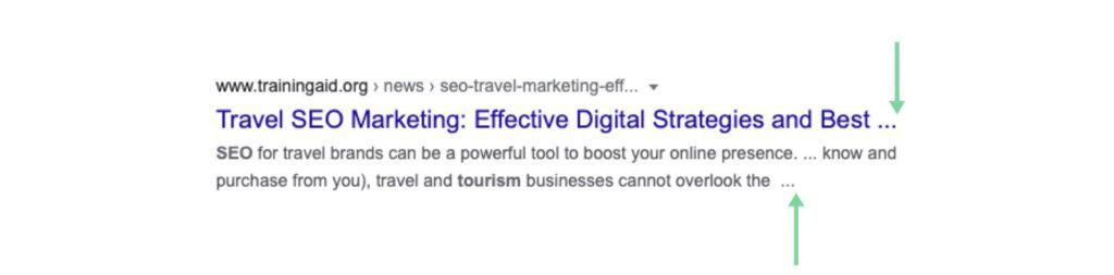 Example of Truncated Title and Meta Description